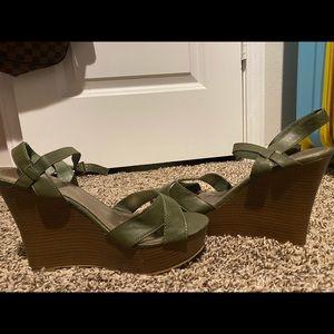 Wedges sandles. Forest green color